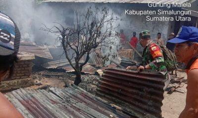 Tiga Rumah Warga di Nagori Syahkuda Bayu Hangus Terbakar