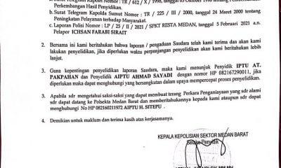 Polsekta Medan Barat Diminta Tangkap Zain Penganiaya Ichsan Sirait