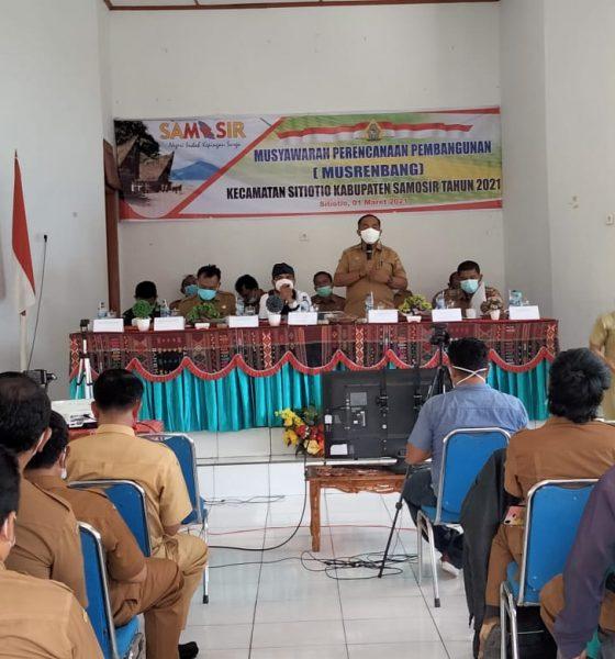 Musrembang dibuka Secara Resmi Oleh Plh Bupati Samosir yang Diwakili Kepala Bappeda Rudi SM Siahaan
