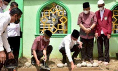 Gubsu Bersama Rektor UISU Lakukan Peletakan Batu Pertama Pembangunan Masjid Jami'al Munawwarah