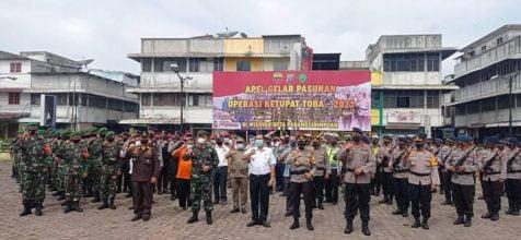 Walikota P.Sidimpuan Pimpin Apel Gelar Pasukan Operasi Ketupat Toba 2021