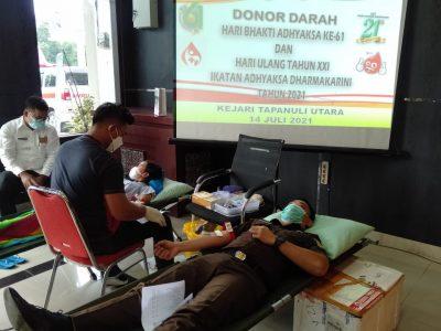 Peringati Hari Bhakti Adhyaksa Ke-61, Kejari Tapanuli Utara Gelar Donor Darah